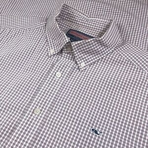 Details about Vineyard Vines Large Whale Shirt Red White Blue Micro Check  Plaid Dress Shirt.
