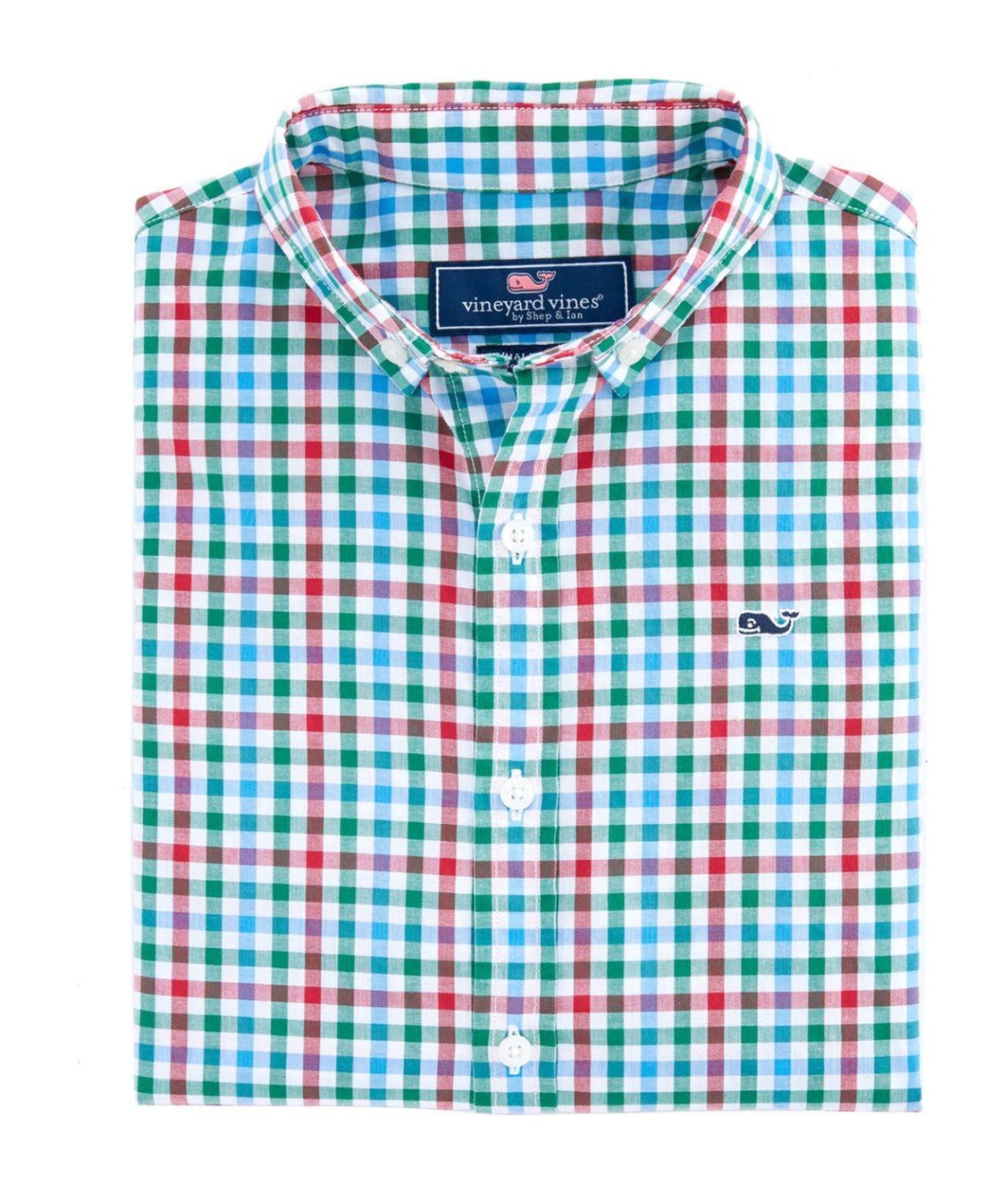 Boys Higgins Beach Gingham Poplin Whale Shirt.