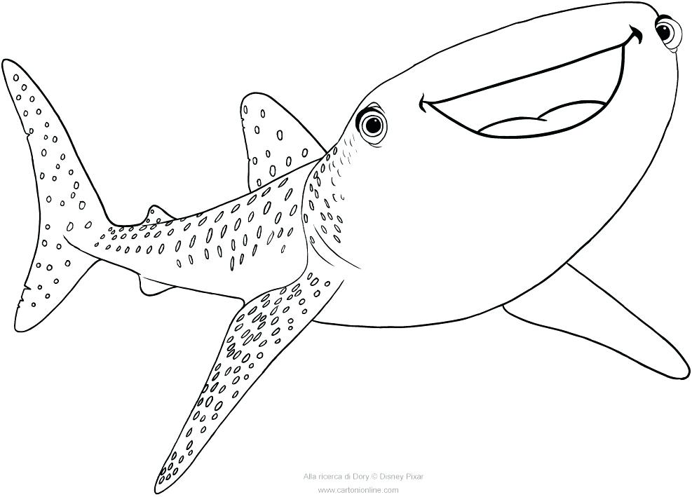 Printable Whale Shark Coloring Pages.
