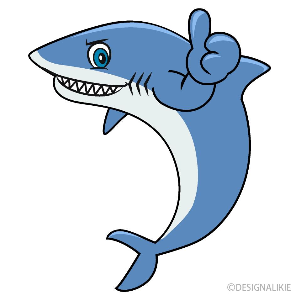 Free Thumbs up Shark Cartoon Image|Illustoon.