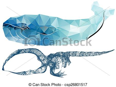 Vector Clip Art of whale skeleton. abstract silhouettes of whale.