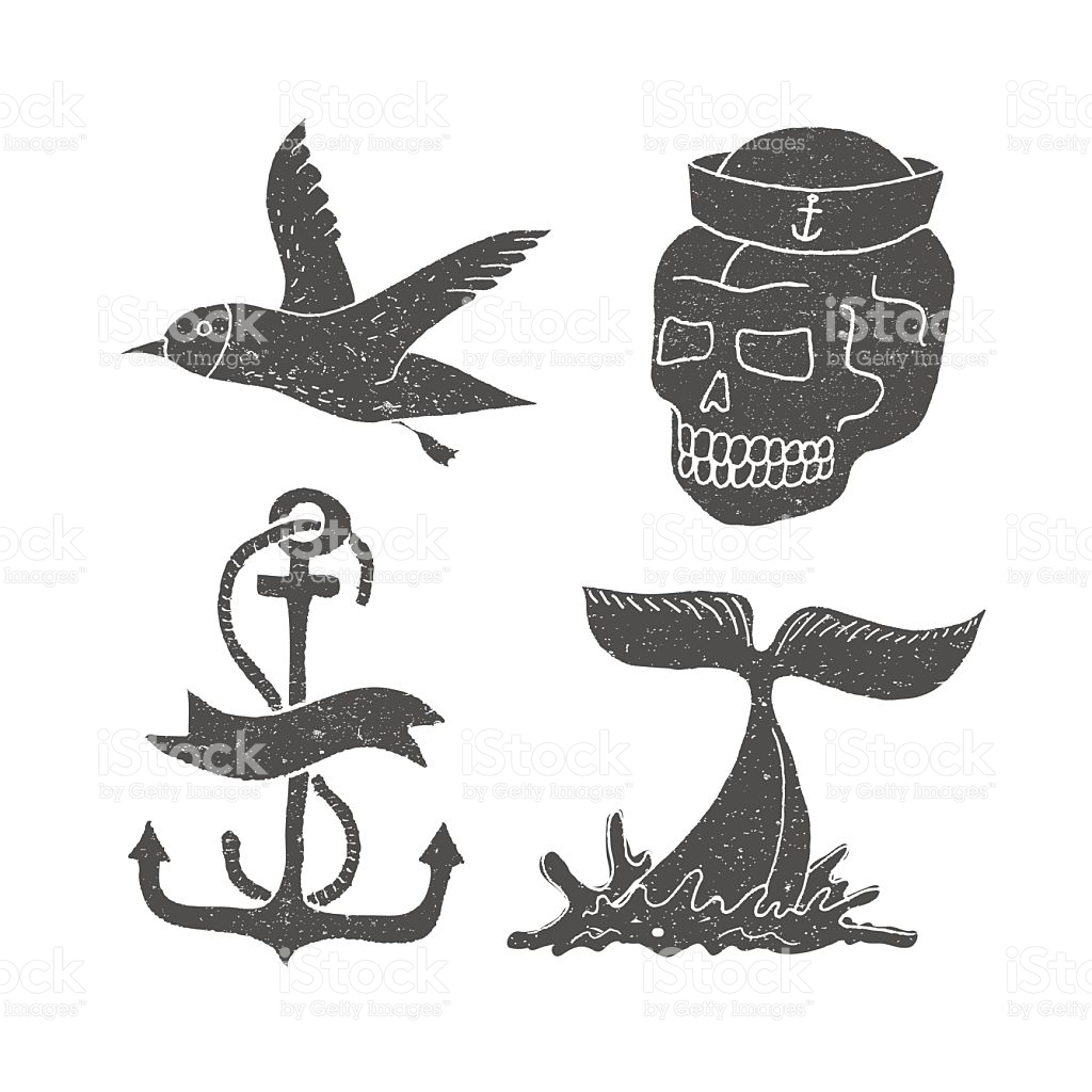 Marine Themes Tattoo Ocean Whale Skull Anchor Gull stock vector.