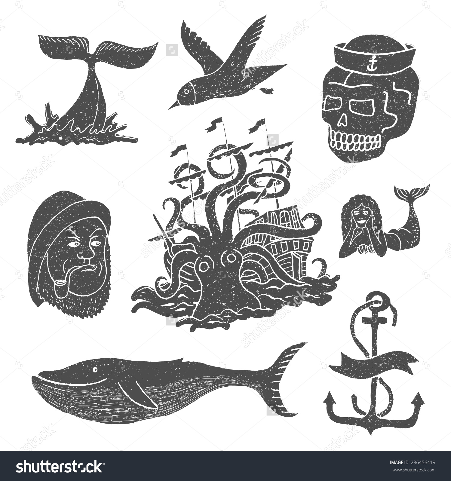 Marine Themes Tattoo Sailor Ocean Octopus Stock Vector 236456419.