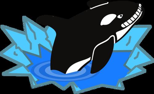 Vector image of big orca smiling sadistically.