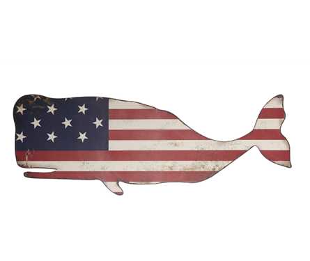 Metal American Flag Whale Wall Decor.