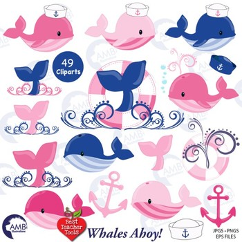 Whale Clipart in Pink and Blue Nautical Clipart, Anchor Clipart, AMB.