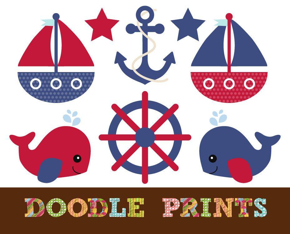 Nautical Clipart, Digital Clip Art, Sail boats, Ocean Whale.