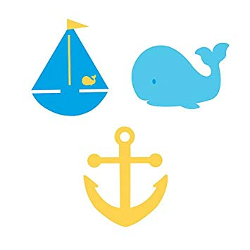 Sailboat Whale and Ancho Felt Cutouts Package of 3.