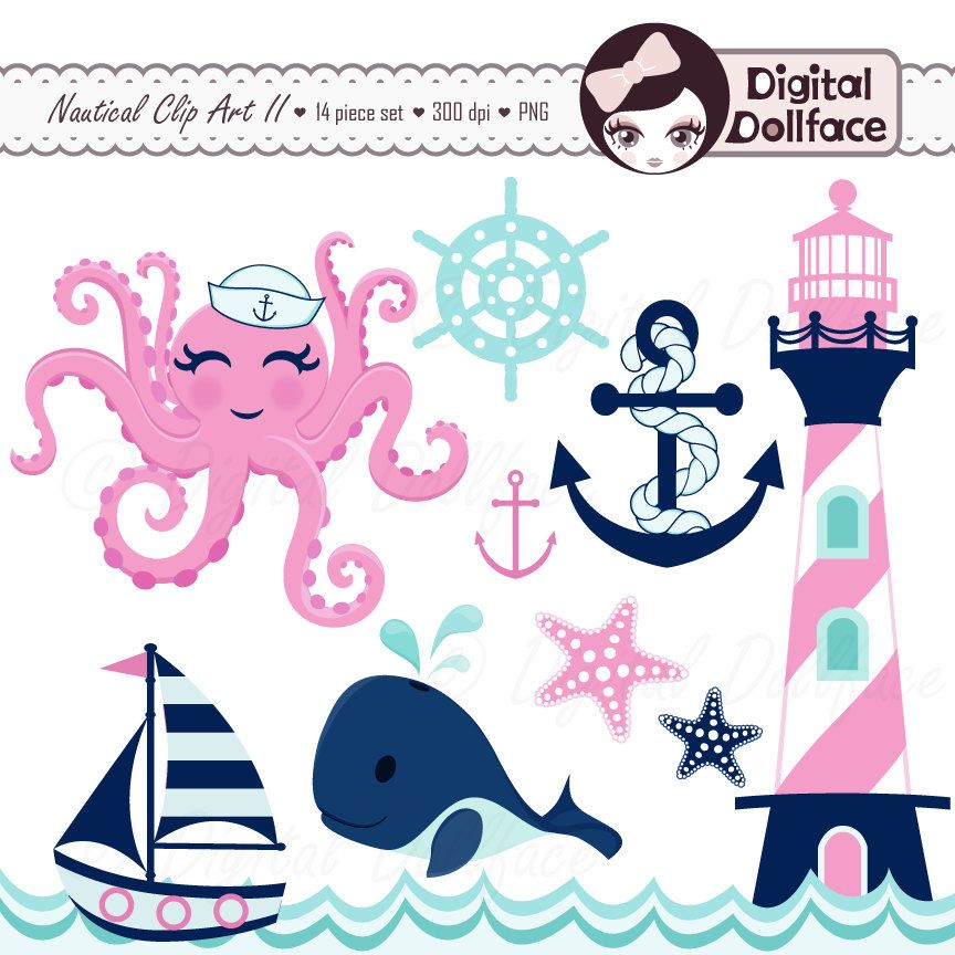 Pink Nautical Clip Art Girl Whale Octopus by DigitalDollFace.