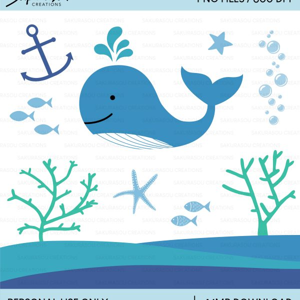 Whale Clipart, Under the Sea, Fish, Starfish, Coral, Anchor, Ocean /  Personal Use / SCG003.