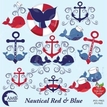 Whale Clipart, Nautical Clipart, Anchor Clipart, Ocean clipart, AMB.