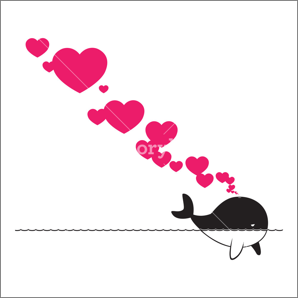 Abstract Illustration Of Whale With Hearts. Royalty.