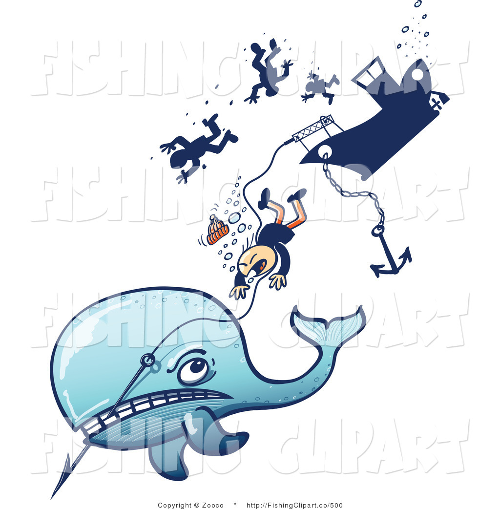 Clip Art of a Whale Pulling Hunters down by Zooco.