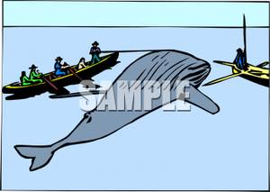 Hunters Spearing a Whale In the Ocean.