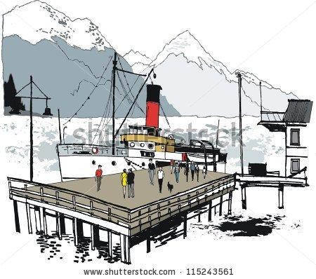 Vector Illustration Historic Steamship Wharf Queenstown Stock.
