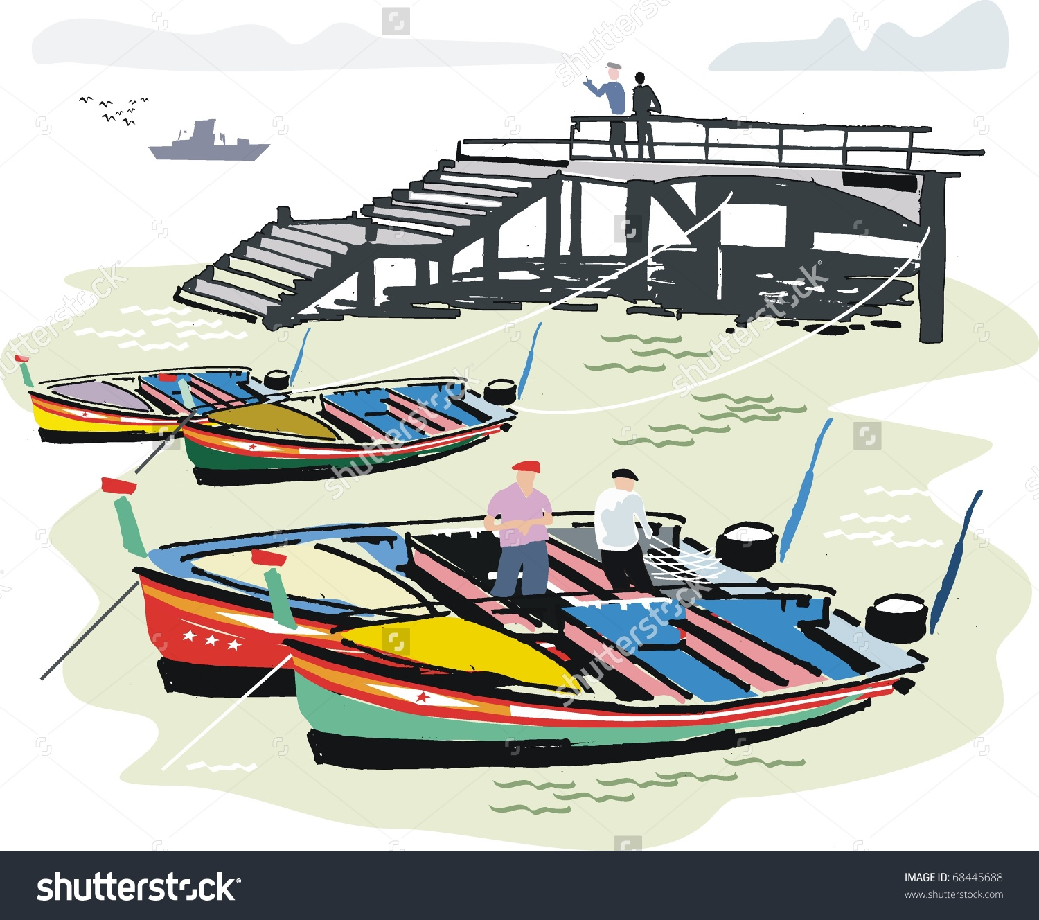 Vector Illustration Of Portuguese Fishing Boats At Anchor Next To.