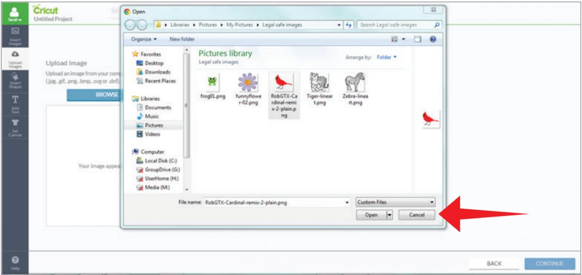 Uploading images (.jpg, .gif, .png, .bmp, .svg, .dxf files).