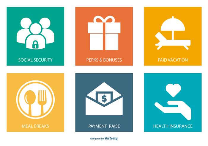 Employment Benefits Icon Collection.