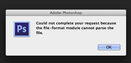 Photoshop: Can't open PNG files.