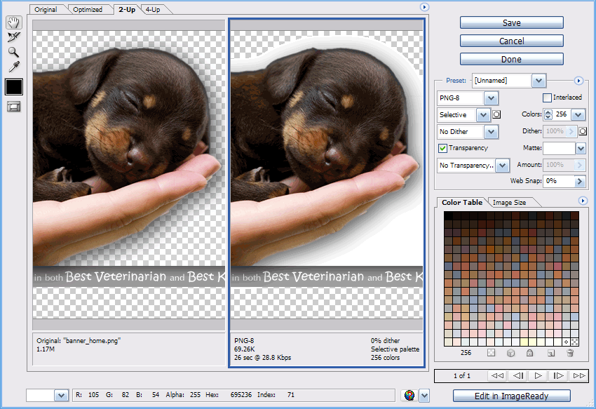 PNG24 and PNG Optimization.