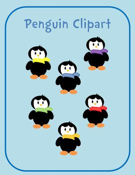 Penguins With Colorful Scarves Clipart.