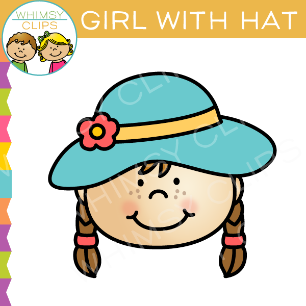 Girl with Hat Clip Art.