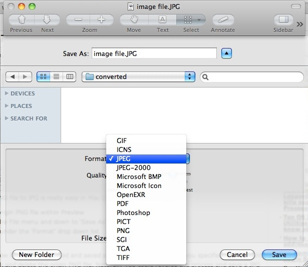 Convert Images in Mac OS X: JPG to GIF, PSD to JPG, GIF to JPG, BMP.