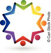 Teamwork hands and connection logo Vector Clipart.