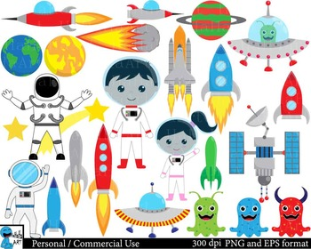 Space Kids Digital Clip Art Graphics Personal, Commercial Use 107 images  cod175.