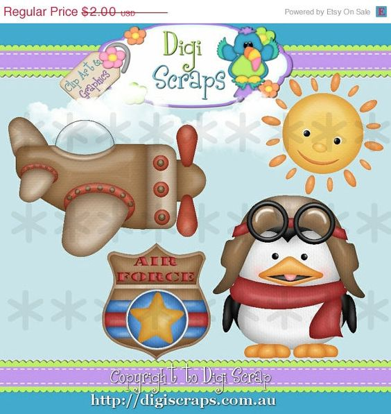 Penguin Pilot Clip Art Set.