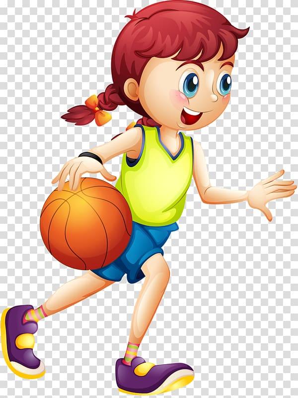 Girl dribbling ball , Women\\\'s basketball Cartoon Sport.