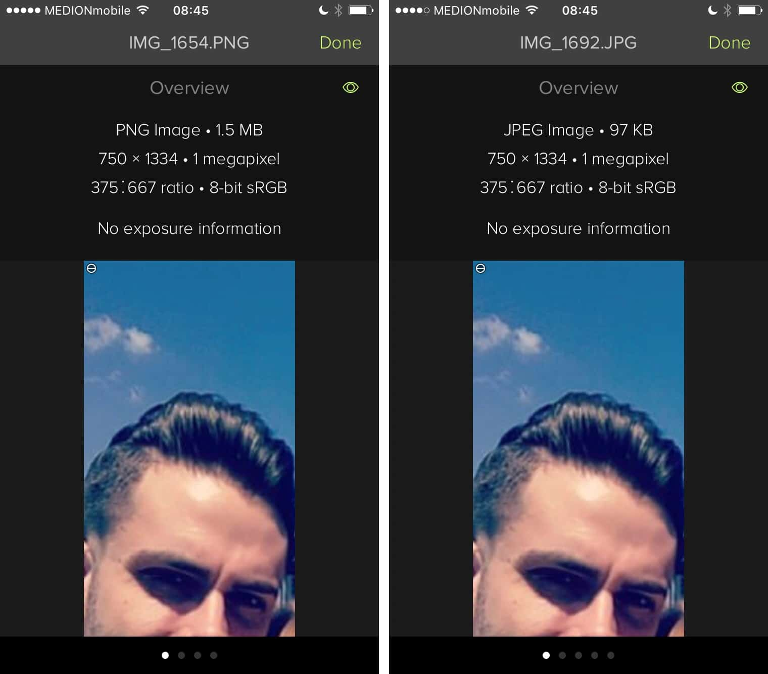 How to convert screenshots from PNG to JPEG on iOS.