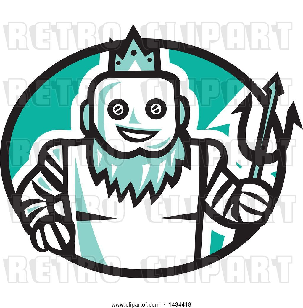 Vector Clip Art of Retro Robotic Poseidon Holding a Trident.