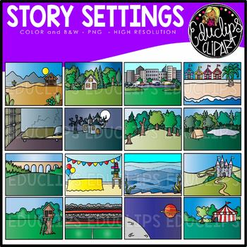 Story Settings Clip Art Set {Educlips Clipart}.