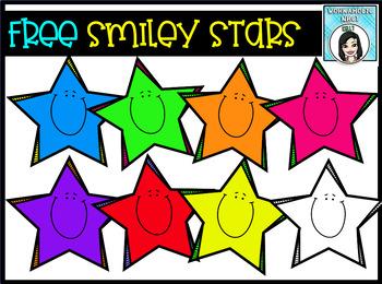 (FREE) Smiley Stars Clip Art Set.