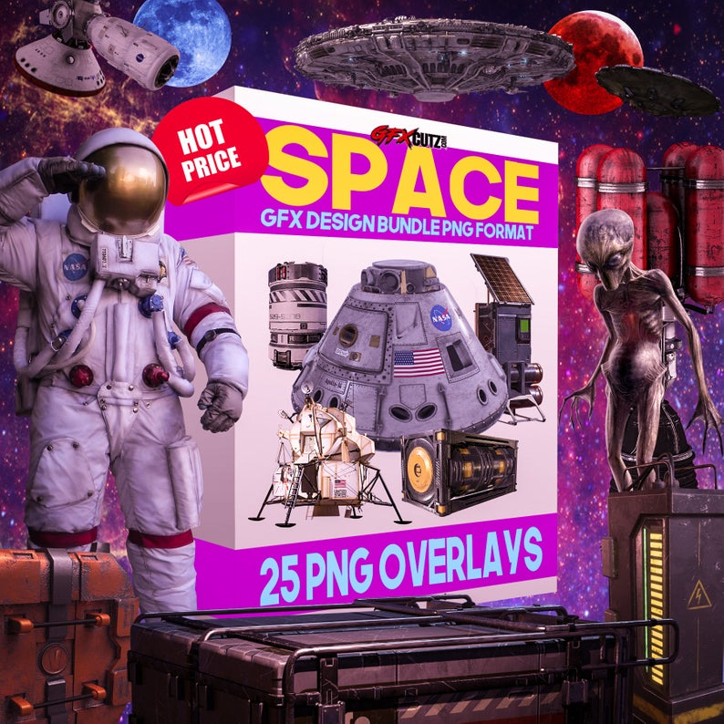 Space Overlays for Photoshop In Png Format For Your Photo Manipulation  Project (Astronaut, Galaxy, UFO, Alien, Moon, Outer Space, Planet).