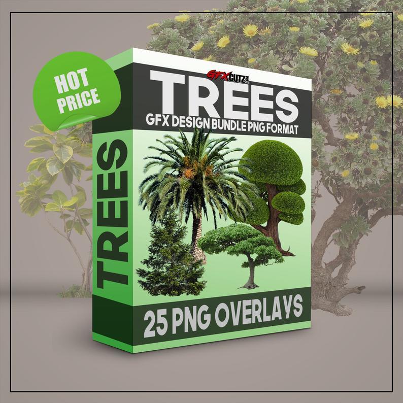 Trees GFX Design Bundle PNG Format.