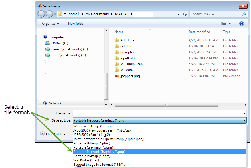 Display Save Image dialog box.