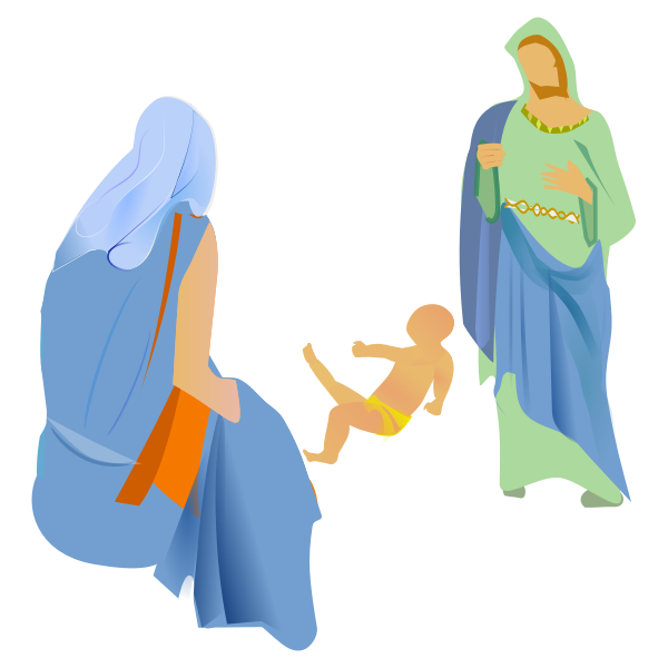 Vector clip art of interpretation of the nativity scene.