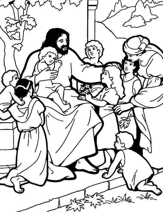 Jesus teaching children to pray.