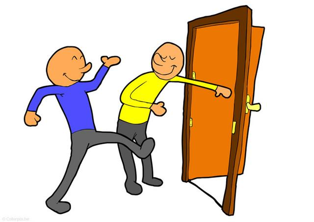 Boy Open Door Clipart.