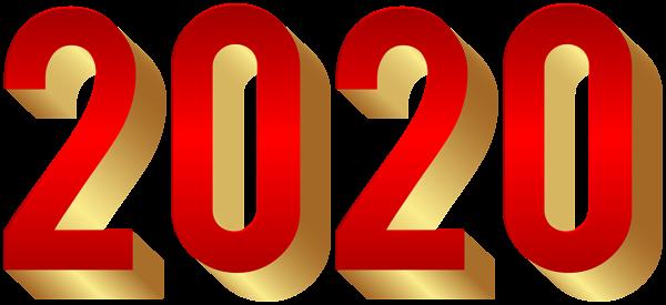 2020 Gold Red Transparent Clip Art.