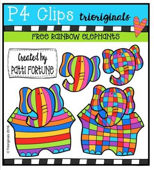 FREE RAINBOW Elephants {P4 Clips Triorignals Digital Clipart.