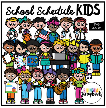 School Schedule Kids (Clip Art for Personal & Commercial Use).