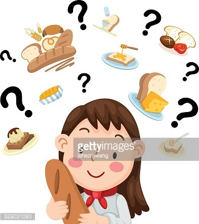 woman thinking what to cook vector Clipart Image.