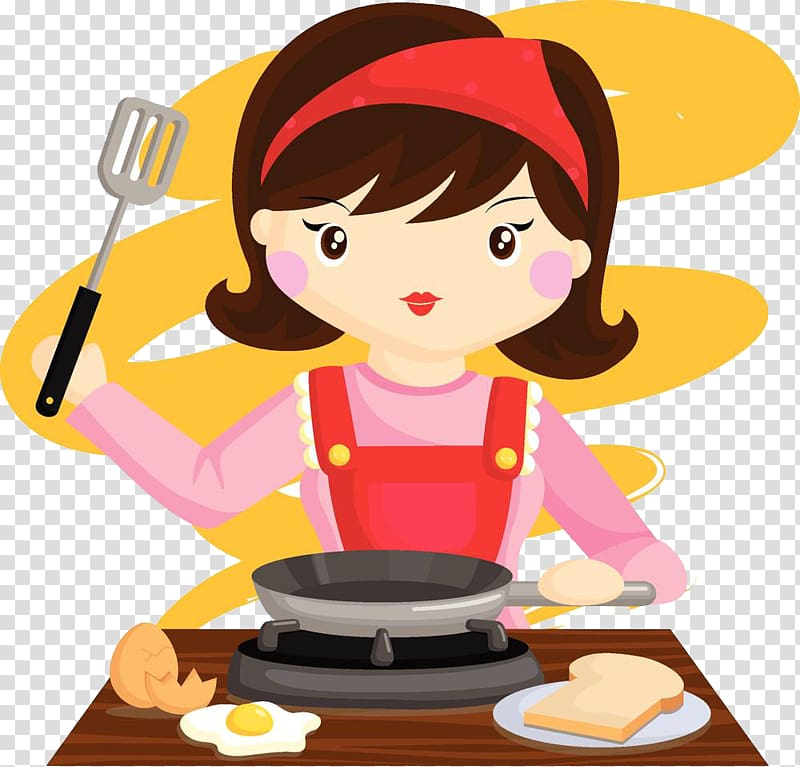 The girl preparing to cook transparent background PNG.
