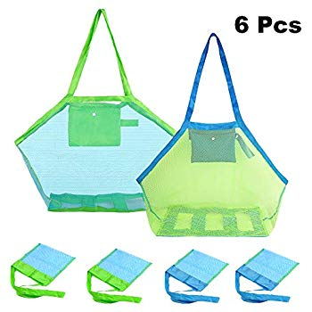 6 Pack Mesh Beach Bag, Extra Large Beach Bags and Totes, Foldable Children  Beach Toys Organizer Storage Bags for Holding Beach Toys (2 PCS Large and 4.