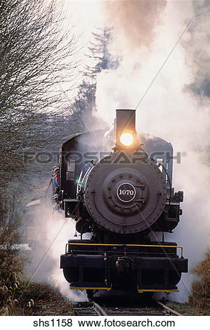 Pictures of Steam locomotive on Whatcom County railroad, Northwest.