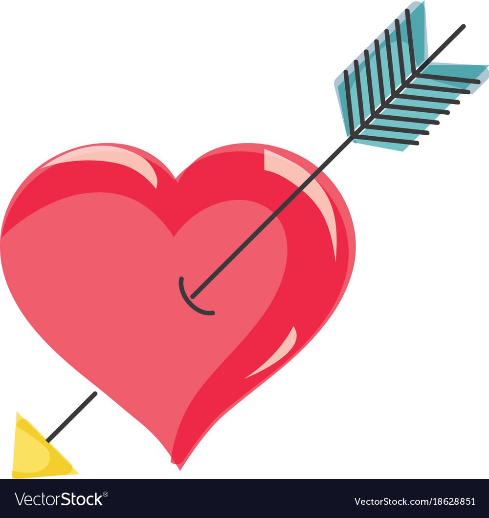 Arrow inside romantic heart design.