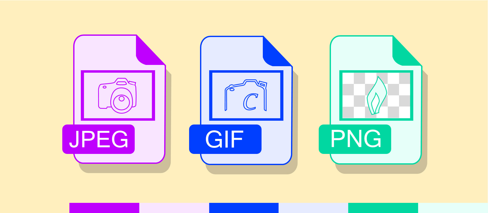 Understanding the different image formats of JPG, PNG, GIF, and BMP.